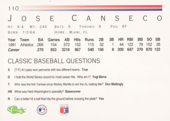 1992 Classic Game #110 Jose Canseco Back