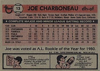 1981 Topps #13 Joe Charboneau Back