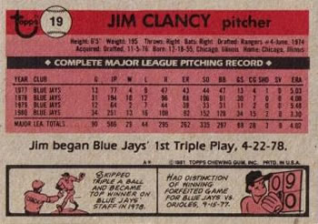 1981 Topps #19 Jim Clancy Back