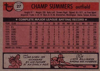 1981 Topps #27 Champ Summers Back