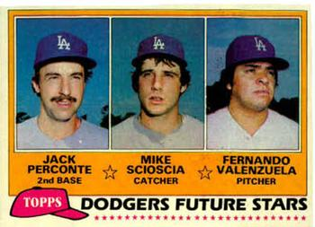 1981 Topps #302 Dodgers Future Stars - Jack Perconte / Mike Scioscia / Fernando Valenzuela Front