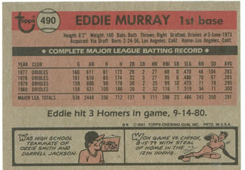 1981 Topps #490 Eddie Murray Back
