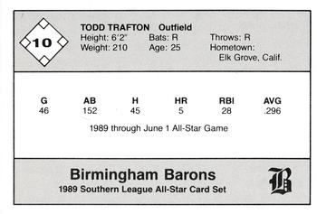 1989 Jennings Southern League All-Stars  #10 Todd Trafton Back