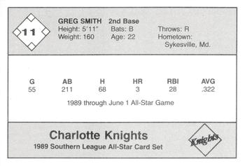 1989 Jennings Southern League All-Stars  #11 Greg Smith Back