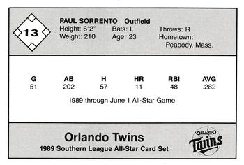 1989 Jennings Southern League All-Stars  #13 Paul Sorrento Back