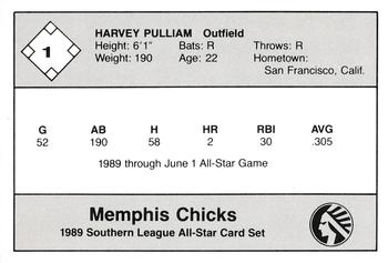 1989 Jennings Southern League All-Stars  #1 Harvey Pulliam Back