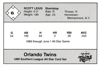 1989 Jennings Southern League All-Stars  #6 Scott Leius Back