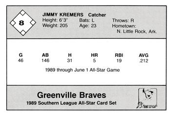 1989 Jennings Southern League All-Stars  #8 Jimmy Kremers Back