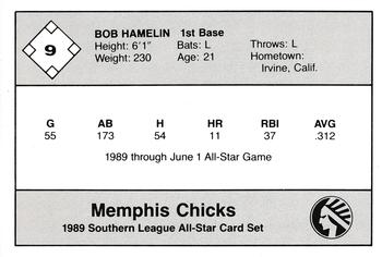 1989 Jennings Southern League All-Stars  #9 Bob Hamelin Back