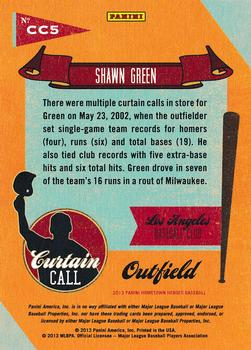 2013 Panini Hometown Heroes - Curtain Call Gold #CC5 Shawn Green Back