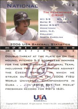2006-07 USA Baseball Box Set  #12 Tim Federowicz Back