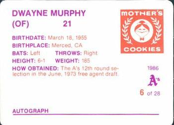 1986 Mother's Cookies Oakland Athletics #6 Dwayne Murphy Back