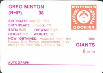 1986 Mother's Cookies San Francisco Giants #8 Greg Minton Back