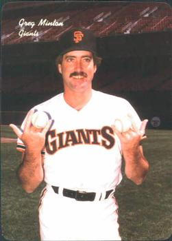 1986 Mother's Cookies San Francisco Giants #8 Greg Minton Front