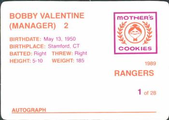 1989 Mother's Cookies Texas Rangers #1 Bobby Valentine Back