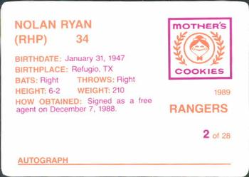 1989 Mother's Cookies Texas Rangers #2 Nolan Ryan Back