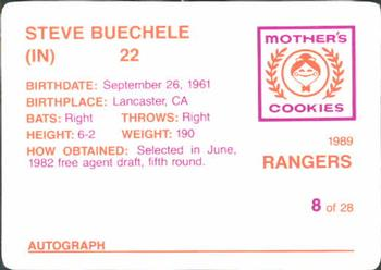 1989 Mother's Cookies Texas Rangers #8 Steve Buechele Back