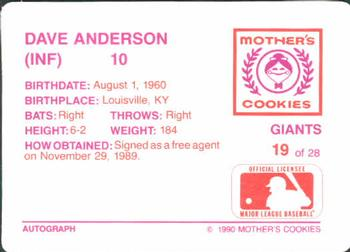 1990 Mother's Cookies San Francisco Giants #19 Dave Anderson Back