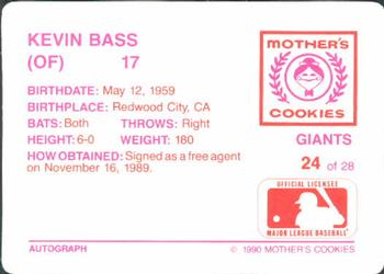 1990 Mother's Cookies San Francisco Giants #24 Kevin Bass Back