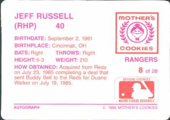 1990 Mother's Cookies Texas Rangers #8 Jeff Russell Back