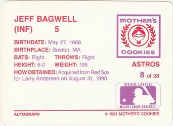 1991 Mother's Cookies Houston Astros #8 Jeff Bagwell Back