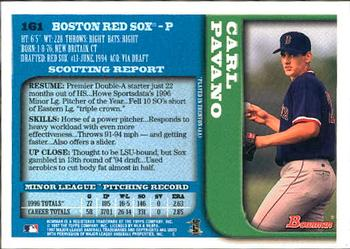 1997 Bowman #161 Carl Pavano Back
