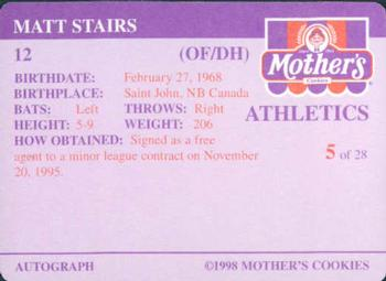 1998 Mother's Cookies Oakland Athletics #5 Matt Stairs Back
