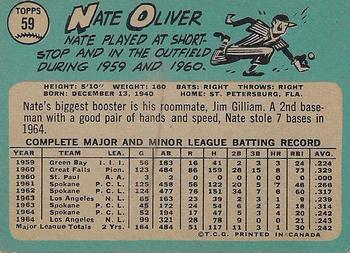 1965 O-Pee-Chee #59 Nate Oliver Back