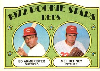 1972 O-Pee-Chee #524 Reds Rookies - Ed Armbrister / Mel Behney Front