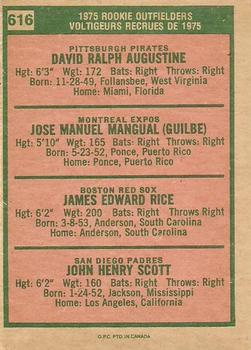 1975 O-Pee-Chee #616 Rookie Outfielders - Dave Augustine / Pepe Mangual / Jim Rice / John Scott Back