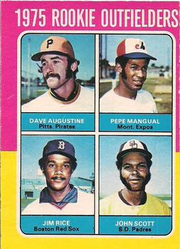 1975 O-Pee-Chee #616 Rookie Outfielders - Dave Augustine / Pepe Mangual / Jim Rice / John Scott Front