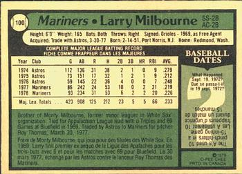 1979 O-Pee-Chee #100 Larry Milbourne Back