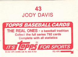 1984 Topps Stickers #43 Jody Davis Back