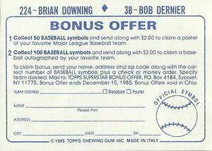 1985 Topps Stickers #38 / 224 Bob Dernier / Brian Downing Back