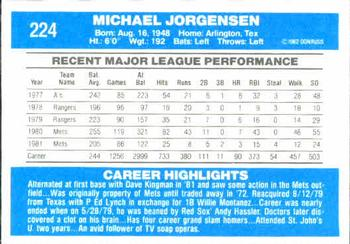 1982 Donruss #224 Mike Jorgensen Back