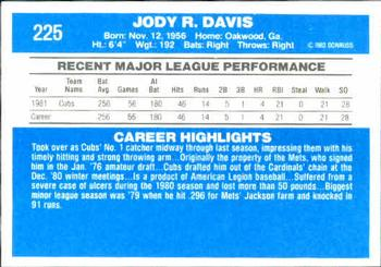 1982 Donruss #225 Jody Davis Back