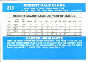1982 Donruss #318 Bob Clark Back