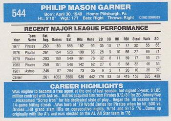1982 Donruss #544a Phil Garner Back
