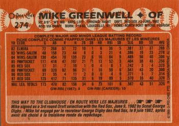 1988 O-Pee-Chee #274 Mike Greenwell Back