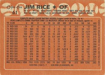 1988 O-Pee-Chee #61 Jim Rice Back