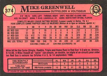 1989 O-Pee-Chee #374 Mike Greenwell Back