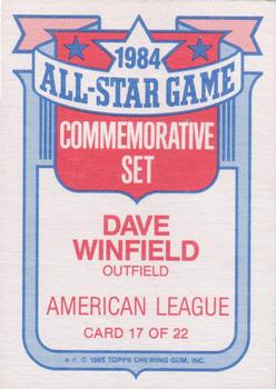 1985 Topps - Glossy All-Stars #17 Dave Winfield Back