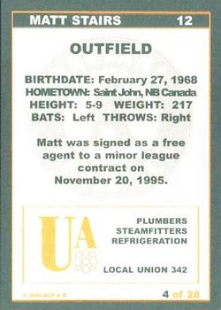 2000 Plumbers Union Oakland Athletics #4 Matt Stairs Back