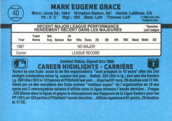 1988 Leaf #40 Mark Grace Back
