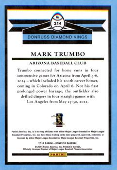 2014 Donruss #214 Mark Trumbo  Back