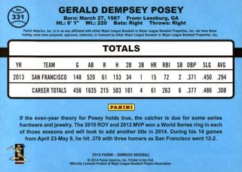 2014 Donruss #331 Buster Posey Back