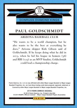 2014 Donruss #11 Paul Goldschmidt Back