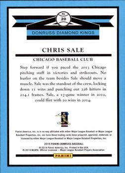 2014 Donruss #20 Chris Sale Back