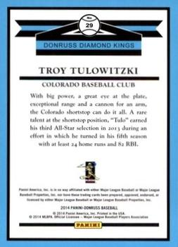 2014 Donruss #29 Troy Tulowitzki Back