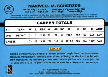 2014 Donruss #78 Max Scherzer Back